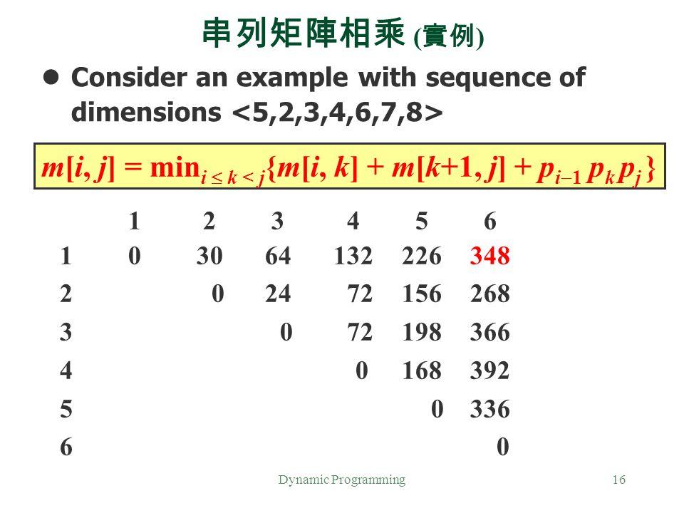 串列矩陣相乘 (實例) Consider an example with sequence of dimensions <5,2,3,4,6,7,8> m[i, j] = mini  k < j{m[i, k] + m[k+1, j] + pi1 pk pj }